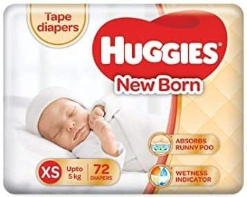 Huggies New Born Taped Baby Diapers, (72 Count)