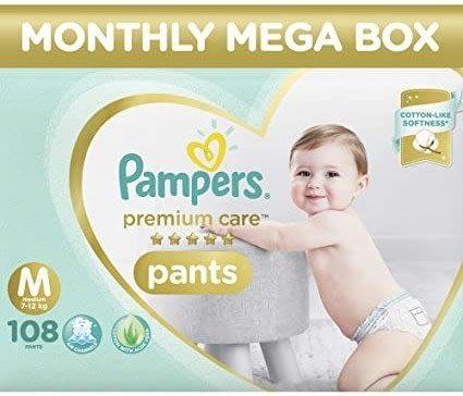 Pampers Premium Care Pants Diapers, Medium (108 Count)