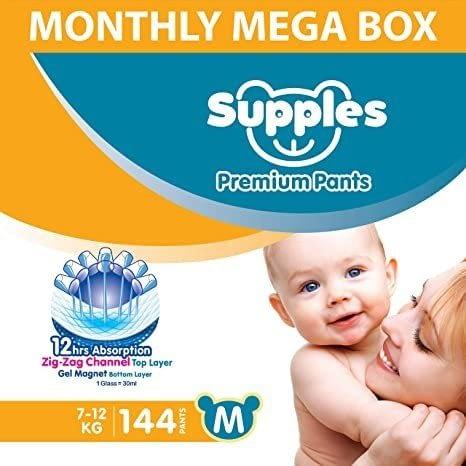Supples Baby Diaper Pants, Medium (144 Count)