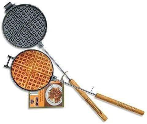Chuck Wagon Best Cast Iron Waffle Maker with Wood Handle