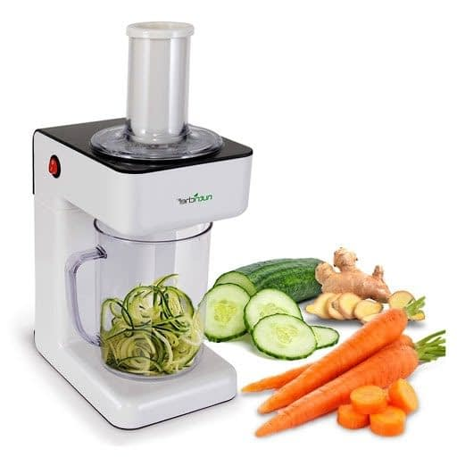 NutriChef Electric Spiralizer Slicer Chopper - 3-in-1 Vegetable Processor-min