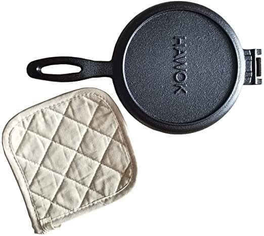 HAWOK Cast Iron Waffle Maker with Pot Holder