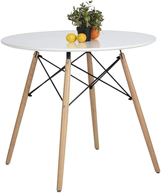 Coavas Kitchen Dining Table White Round