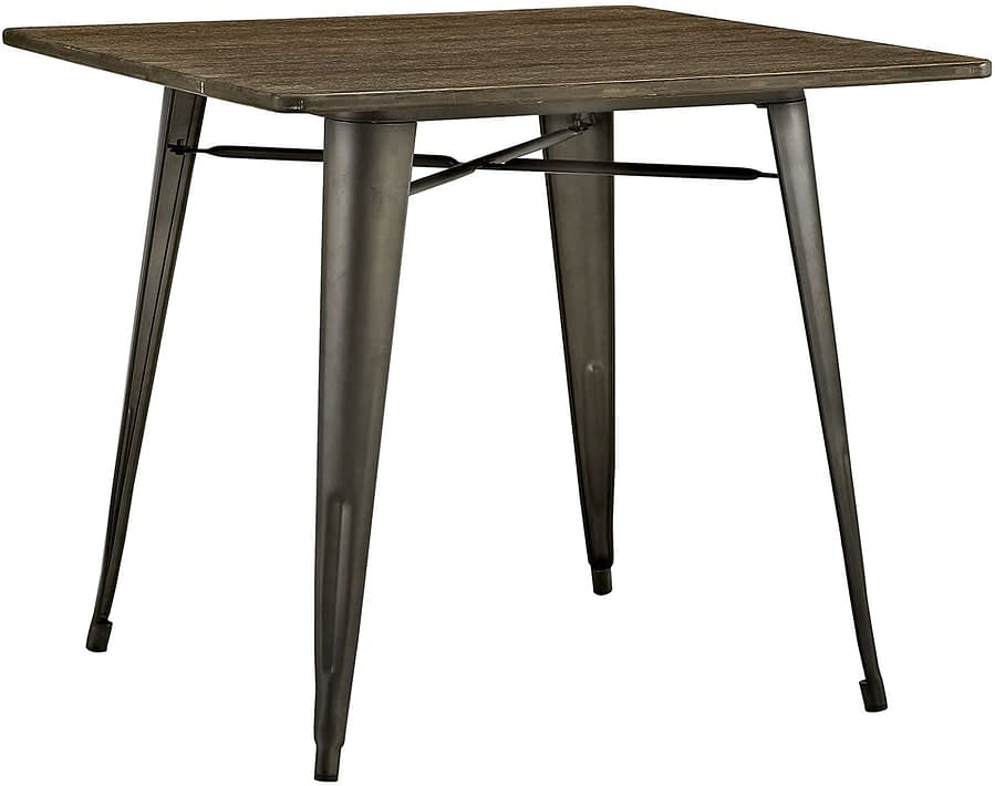 Modway Alacrity 36 inches Rustic Modern Farmhouse Wood Square Dining Table with Steel Legs in Brown