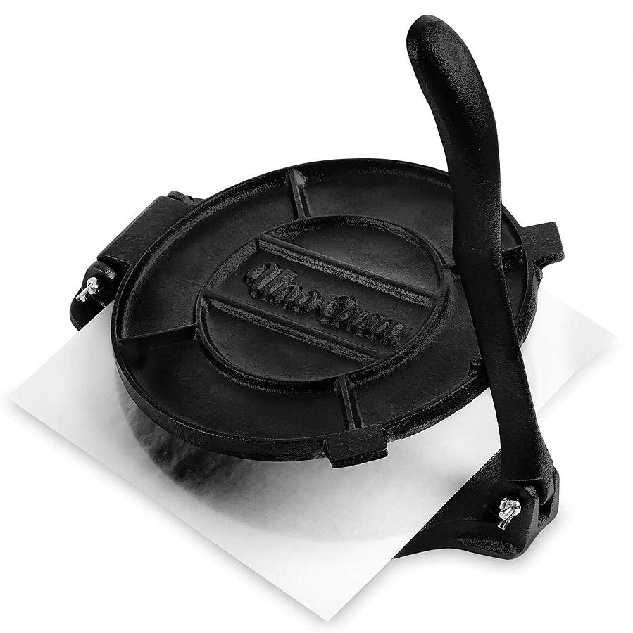 Uno Casa 10 Inch Cast Iron Tortilla Press For Flour Tortillas - with 100 Pcs Parchment Paper_